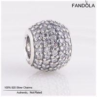 Genuine FANDOLA LW170D 925 Sterling Silver Pave Ball Clear Crystal Charm Beads DIY Jewelry Making Fits