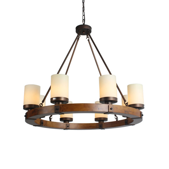 INDUSTRIAL VINTAGE IRON WOODEN FRAME CANDLE LAMPSHADE CHANDELIER -in ...