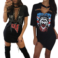 Missufe Print Sexy Choker Neck Lace Up Mini Women Dress 2017 Vestido Ukraine Casual Clubwear Tshirt Summer Dresses For Womens
