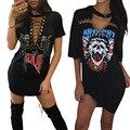 Missufe imprimir sexy gargantilla ucrania neck lace up mini dress 2017 vestido de las mujeres vestidos de clubwear casual camiseta de verano para mujeres