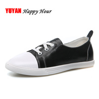 100% Genuine Leather Casual Shoes Women Brand Cowhide Footwear Women's Flats Sweet Girls White Shoes A078