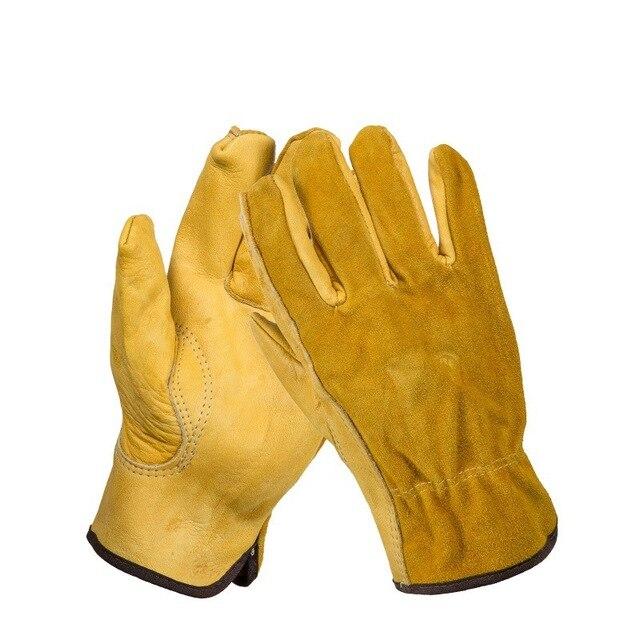 Safurance男性の作業手袋牛革運転セキュリティ保護摩耗安全労働者溶接モト手袋