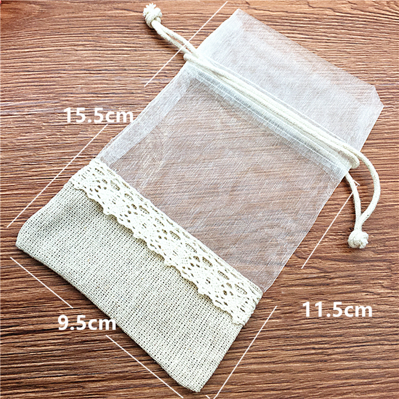 Pack of 24 Organza Jewelry Packaging Bags Jewelry Organizer Bead Storage 10x15cm Party Favor Linen Jute Drawstring Pouch Bag in Jewelry Packaging Display from Jewelry Accessories