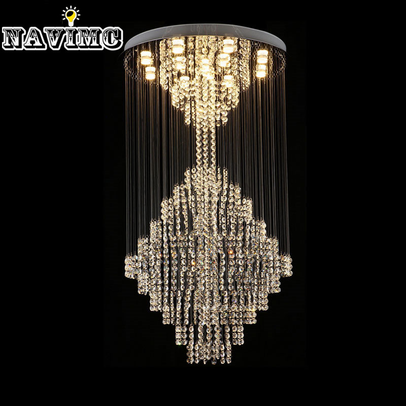 Luxury Modern Large Crystal Chandeliers Lighting Fixture for Long Stair Hotel Villa luxury k9 crystal chandeliers lighting fixture with different size free shipping