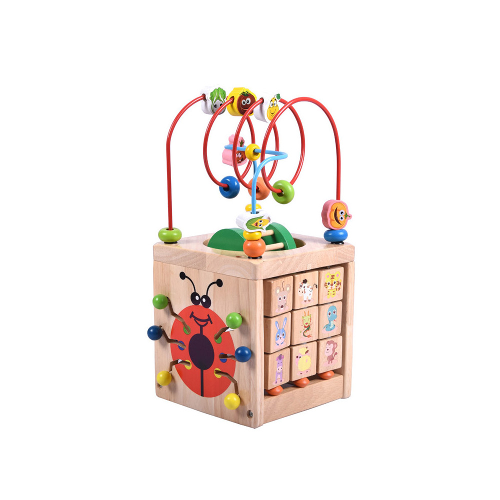 6 in 1 Baby Learning & Education Wooden Multi-function Treasure Box Bead Wire Maze Roller Coaster Toys Set For Kids Children wooden bead maze activity center box multi function round beads box cube wood toys unisex kids multipurpose educational toy