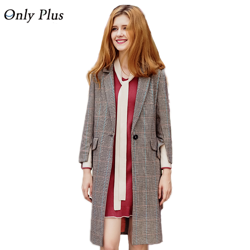 ONLY PLUS Autumn Winter Women's Plaid Trench Coat Long Loose Temperament Casual Wide-waisted 2017 Three quarter Sleeve Coats