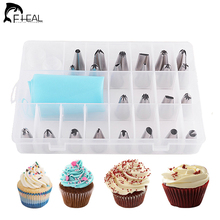 FHEAL 27pcs Confectionery Nozzle Cake Decorating Tool Stainless Steel Cream Russian Piping Nozzle Pastry Bag Cake Attachment