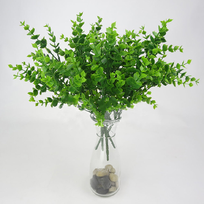 Image 2 - 1pc Artificial Plant Flower with Leaf Plastic Green Grass Tree Plant Fake Leaf Foliage Bush for Home Wedding Hotel Party Decor-in Artificial & Dried Flowers from Home & Garden