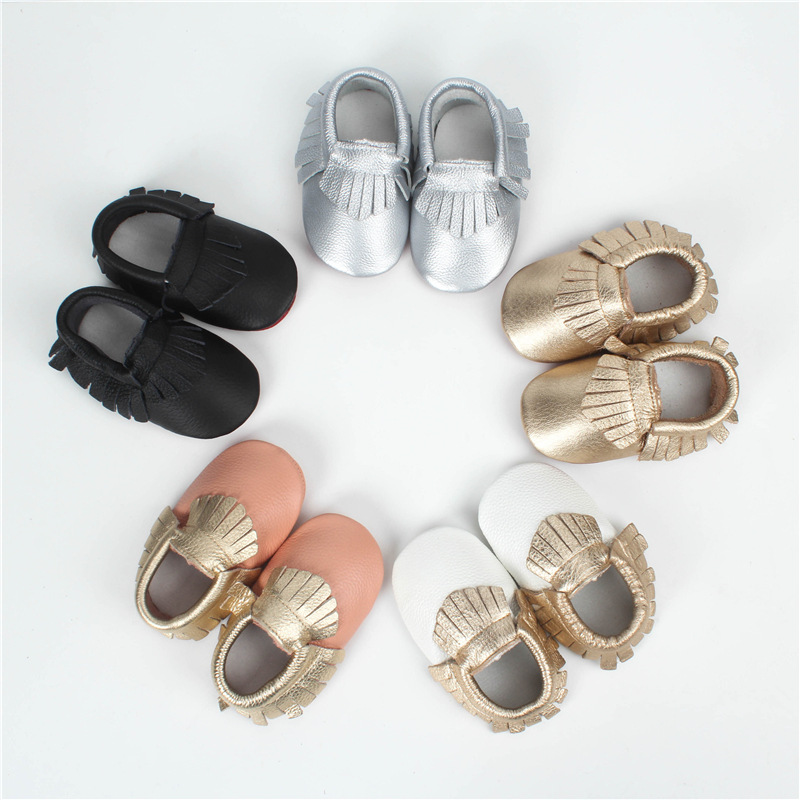 New Style Genuine Leather Newborn Baby Boy Girl Fringe Soft Soled First Walkers Shoes Infant Toddler