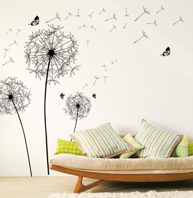 2017 new design dandelion wall stickers decals black flower vinyl artificial wallpaper girls. Black Bedroom Furniture Sets. Home Design Ideas
