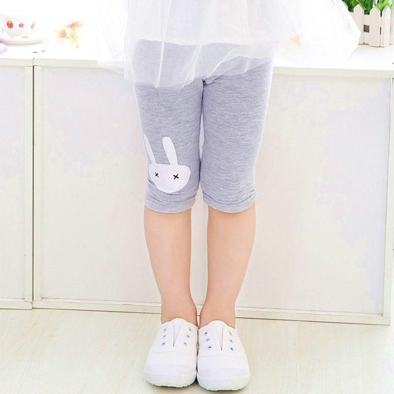 Children Girls Leggings Summer Knee Length   Pants     Capris   Cute Rabbit Printed Girls   Pant   Children Kids Trousers Leggings For Girls