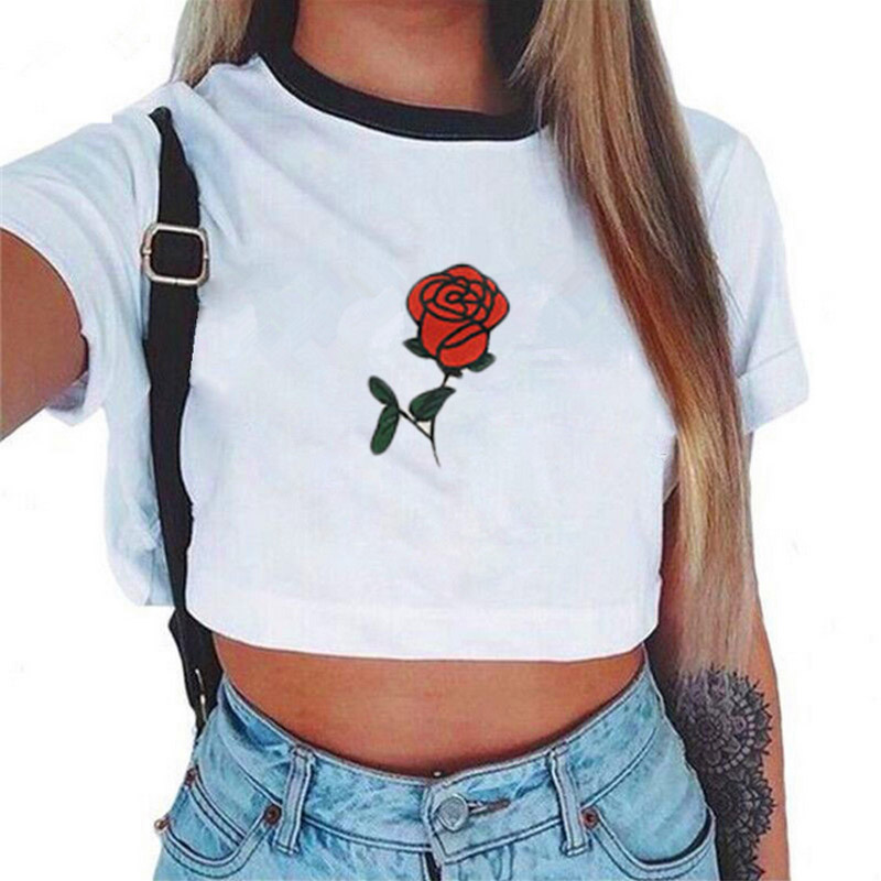 Fashion Women's Summer Letter Printed Crop Top 2017 Short Sleeve Cotton T Shirts New Casual Tees Cute Cropped Top
