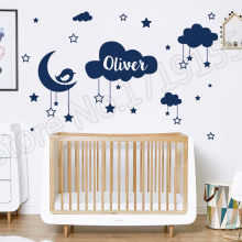 YOYOYU Wall Decal Personalised Name Baby Sticker Cartoon Kids Room Clouds Stars Moon Bird  Pattern Removable Decor DIYZW299