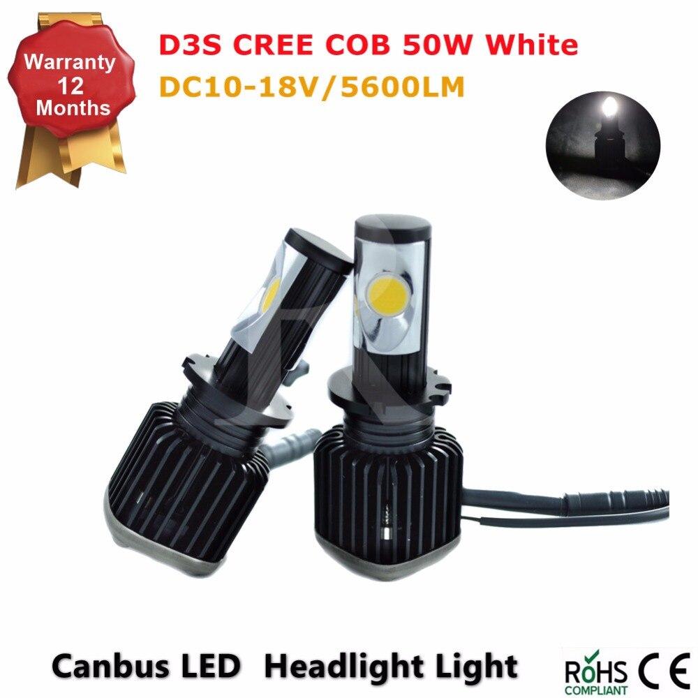 COB 5600Lm/Set 50W/Set D3S Headligh high and low beam Auto headlamp Car LED Kit DRL fog light D1S D2S D2R D3S D4R D4S CE ROHS