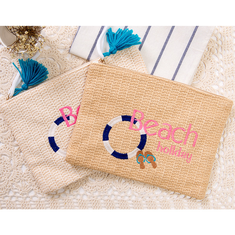 Beach Bag Straw Small Envelope Clutch Purse Summer Hand bags Rattan Women Handmade Large Capacity Beach Bags