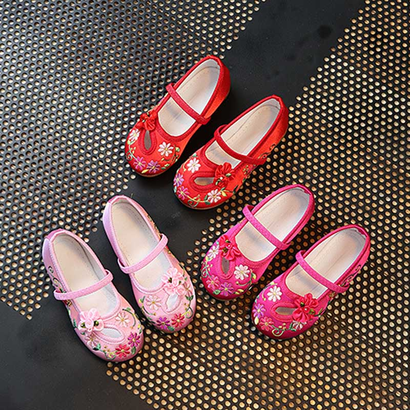 Kids Casual Cloth Shoes Sneakers for Toddler Girls Boys with Handmade Floral Embroidery 88 NSV775