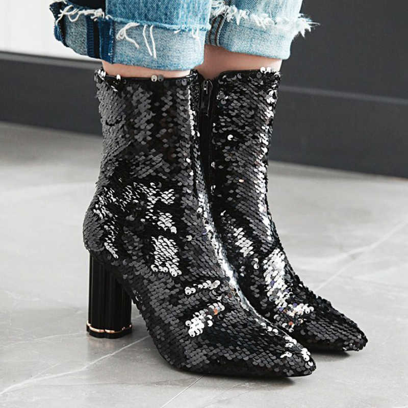 2019 Bling Bling yarım çizmeler KADıN Sivri Burun Altın Gümüş Mavi Payetli Kristal Şeffaf Yüksek Topuk Çizmeler Kadın parti ayakkabıları