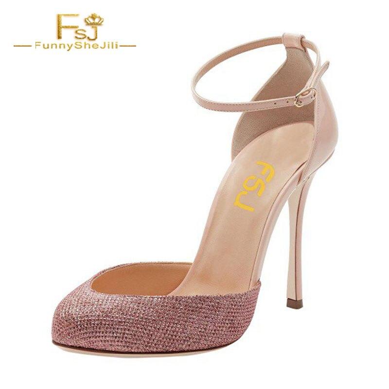 FSJ Women Shoes Ladies Pumps  2018 Spring Autumn Pink Sparkly Heels Almond Toe Stiletto Heels Ankle Strap Big Size Shoes44 45 46