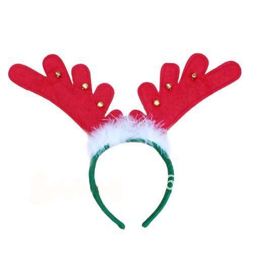 Детская Рождественская повязка на голову с оленем и рогом для взрослых с колокольчиком x'mas hairband, рождественские украшения, два цвета