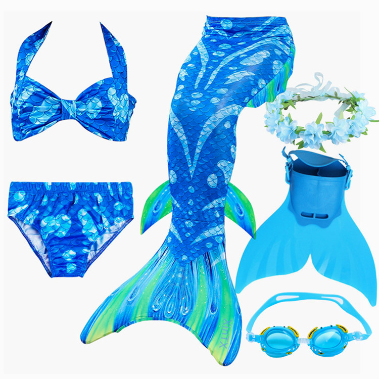2019 NEW!Children Mermaid Tail with Monofin Kids Girls Costumes Swimming Mermaid Tail Mermaid Swimsuit Flipper for girls