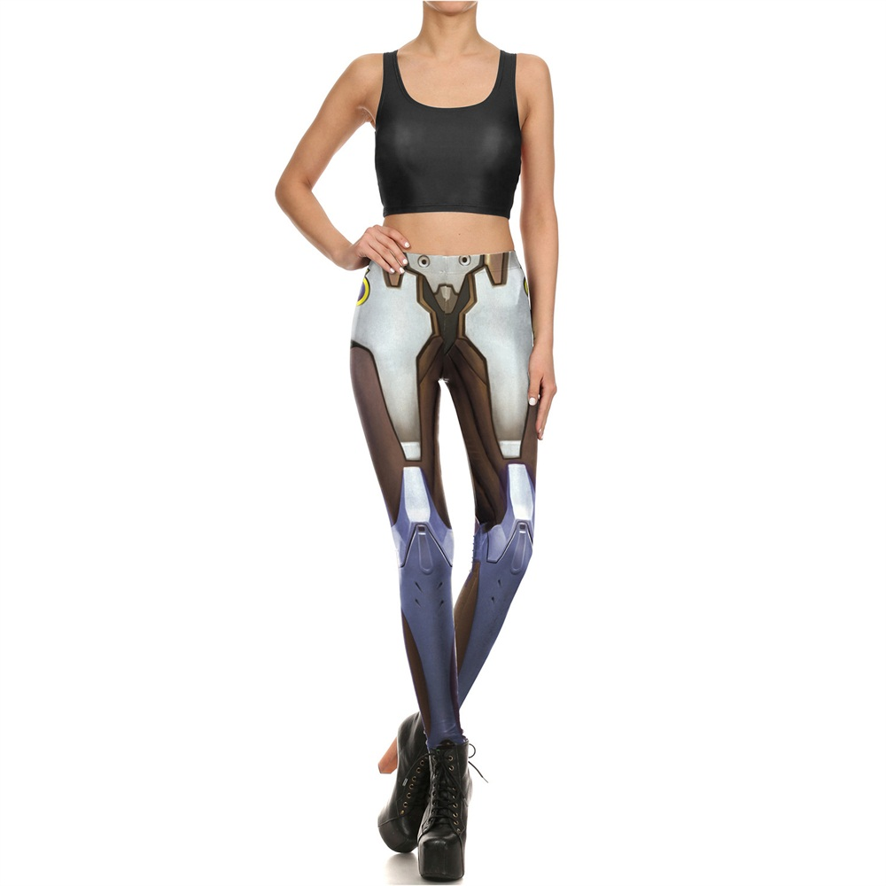 Fashion 1677 Women Leggings Vest Fitness Set Sexy Girl Crop Top Pants Slim Suits Blizzard Game OW Genji Cosplay Printed