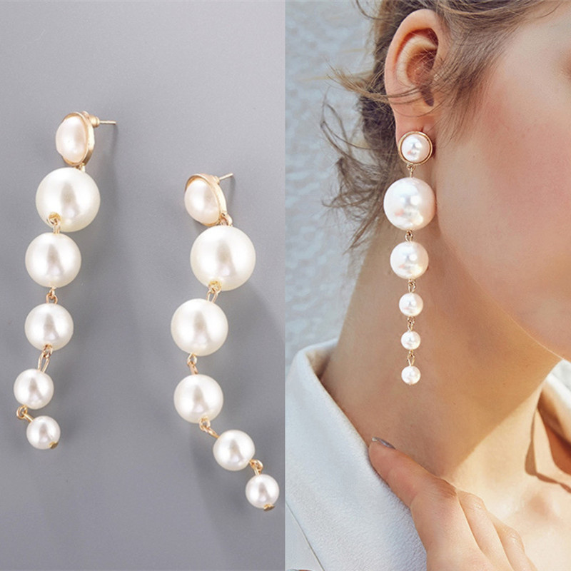 Fashion Elegant Big Simulated Pearl Long Earrings Imitation Pearls String Statement Earrings For Wedding Party Gift Wholesale
