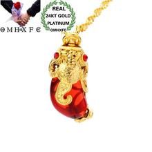 OMHXFC Wholesale European Fashion Woman Unisex Party Birthday Gift Peacock Water Drop Opal 24KT Real Gold Charm Pendant PN259(China)