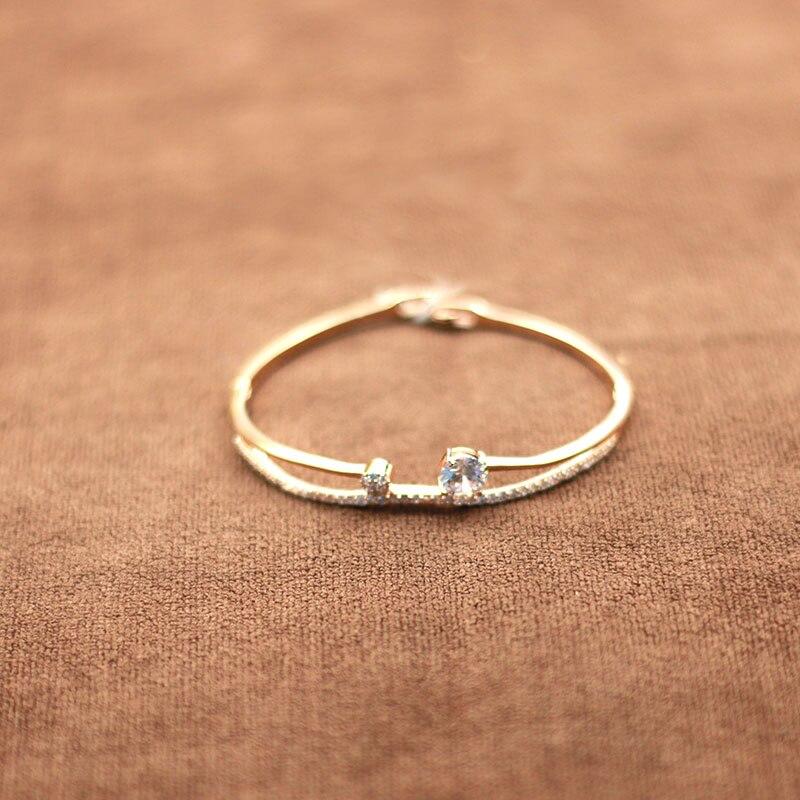 MADALENA SARARA AAA zircon inlay girl bracelet gold optional diameter 55cm freely adjustable popular in Bangles from Jewelry Accessories