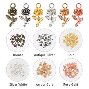Earrings Accessories Pendant-Beads Charms Necklace Flower Jewelry-Making Silver 20pcs