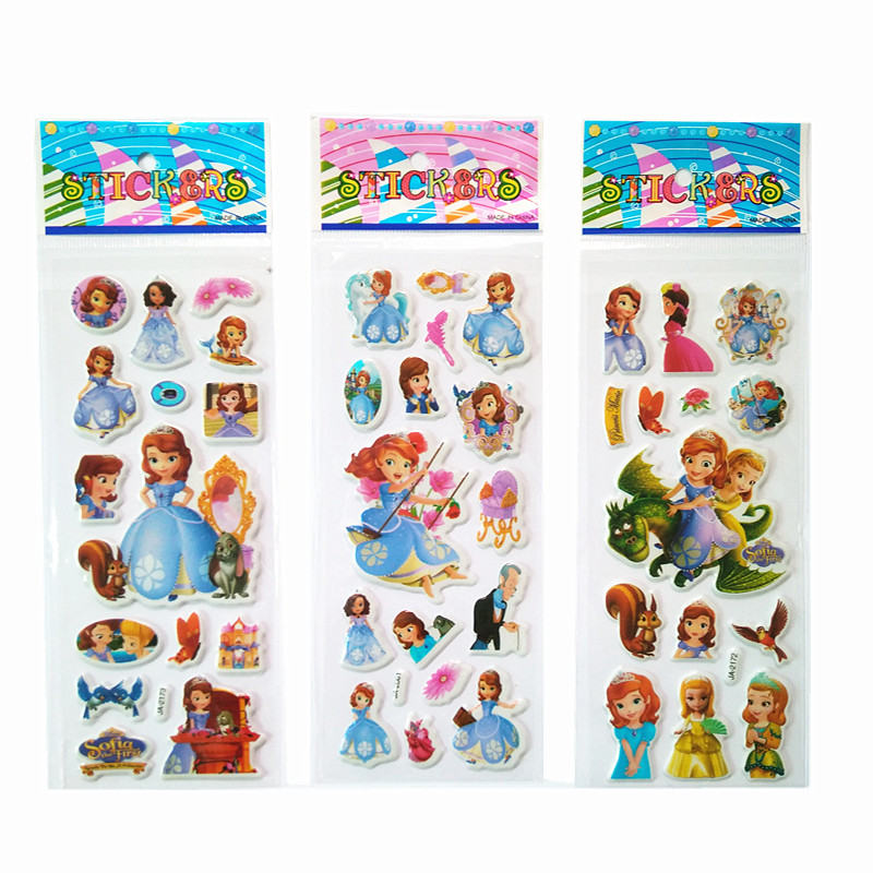 Bubble stickers 3 Sheets/Set Mixed Sofia 3D Foam Cartoon Kids Cute Stickers Puffy Stickers Children DIY Toys Girls Birthday Gift 12 pcs set fireman sam action figure toys 3 6cm cute cartoon pvc dolls for kids birthday christmas gift toys and stickers