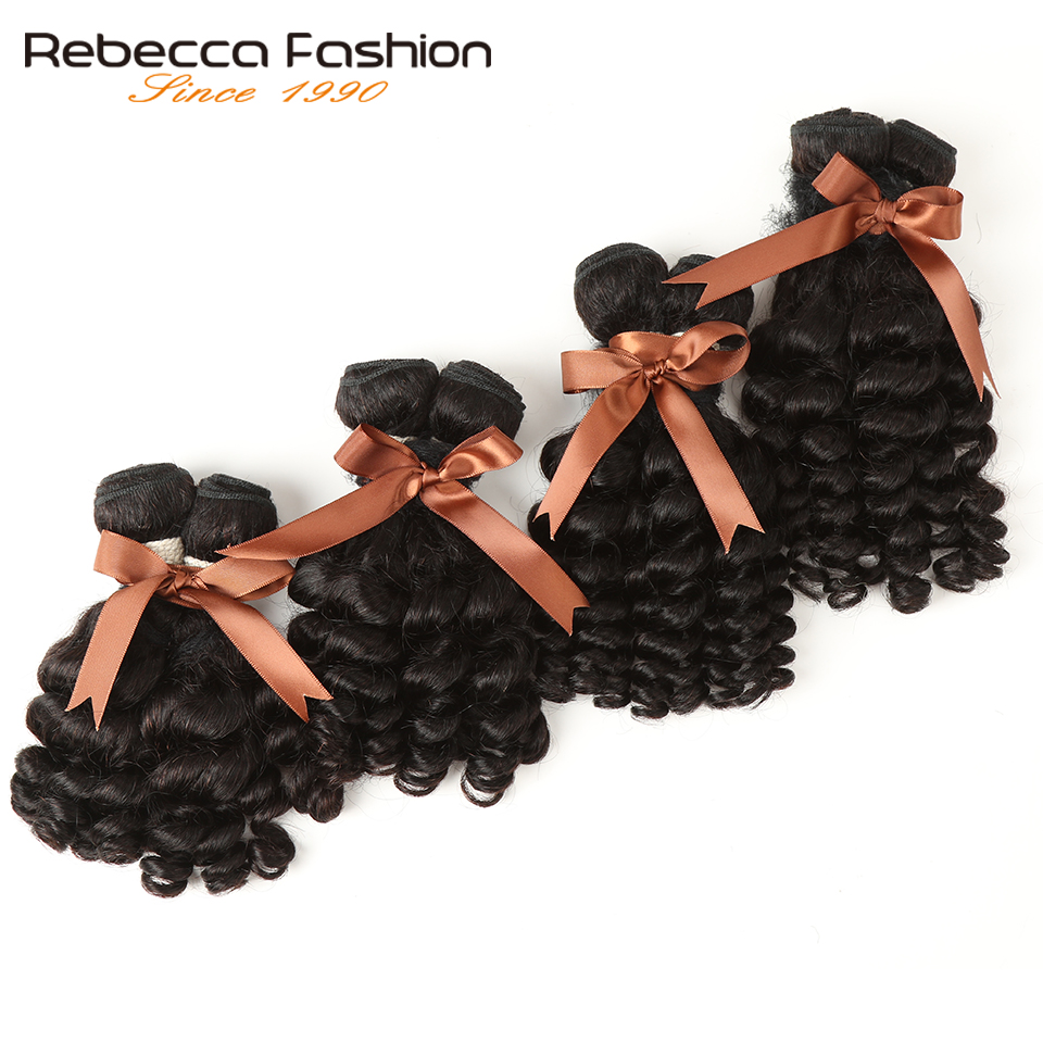 Rebecca Brazilian Hair Weave Bundles Fumi Curly Hair 4 Bundles Non Remy Human Hair Extensions Double Weft Free Shipping
