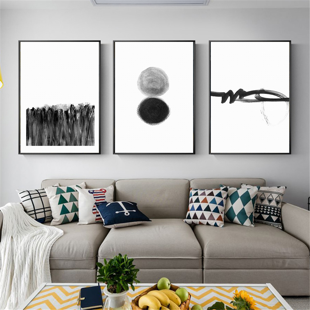 incredible black white living room wall paint   Black White Wall Art Home Decoration Abstract Painting ...