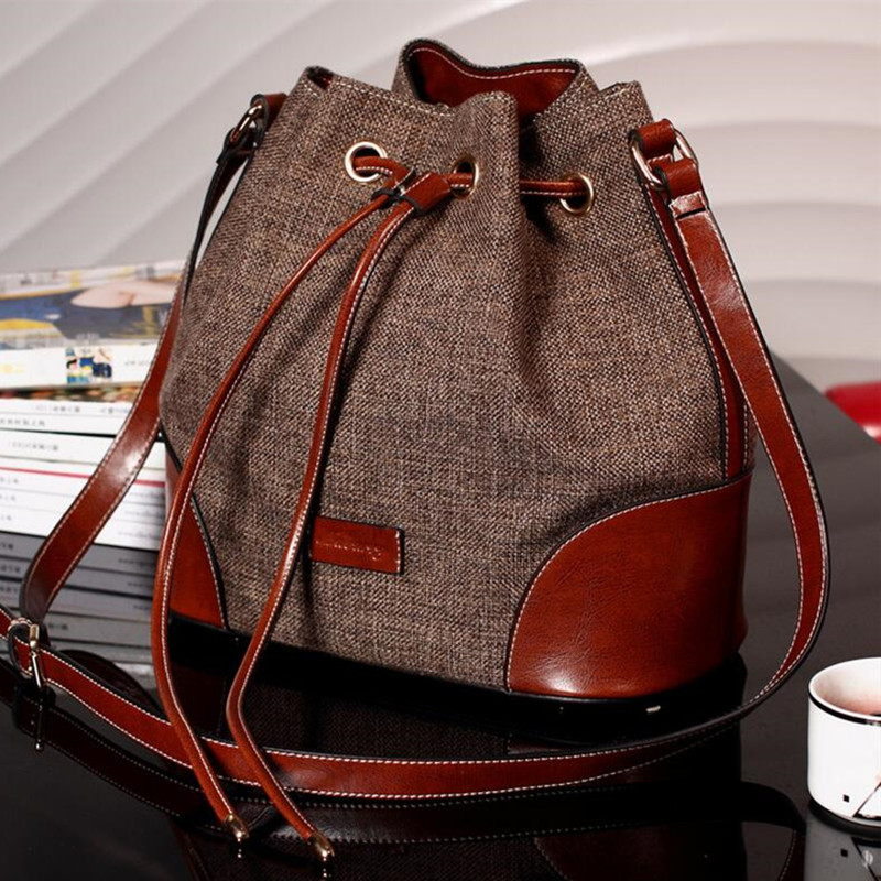 Genuine Leather Brand Design Women Luxury Handbag Bucket Messenger Bags Cowhide Linen Fabric High Quality Shoulder Bags Ladies