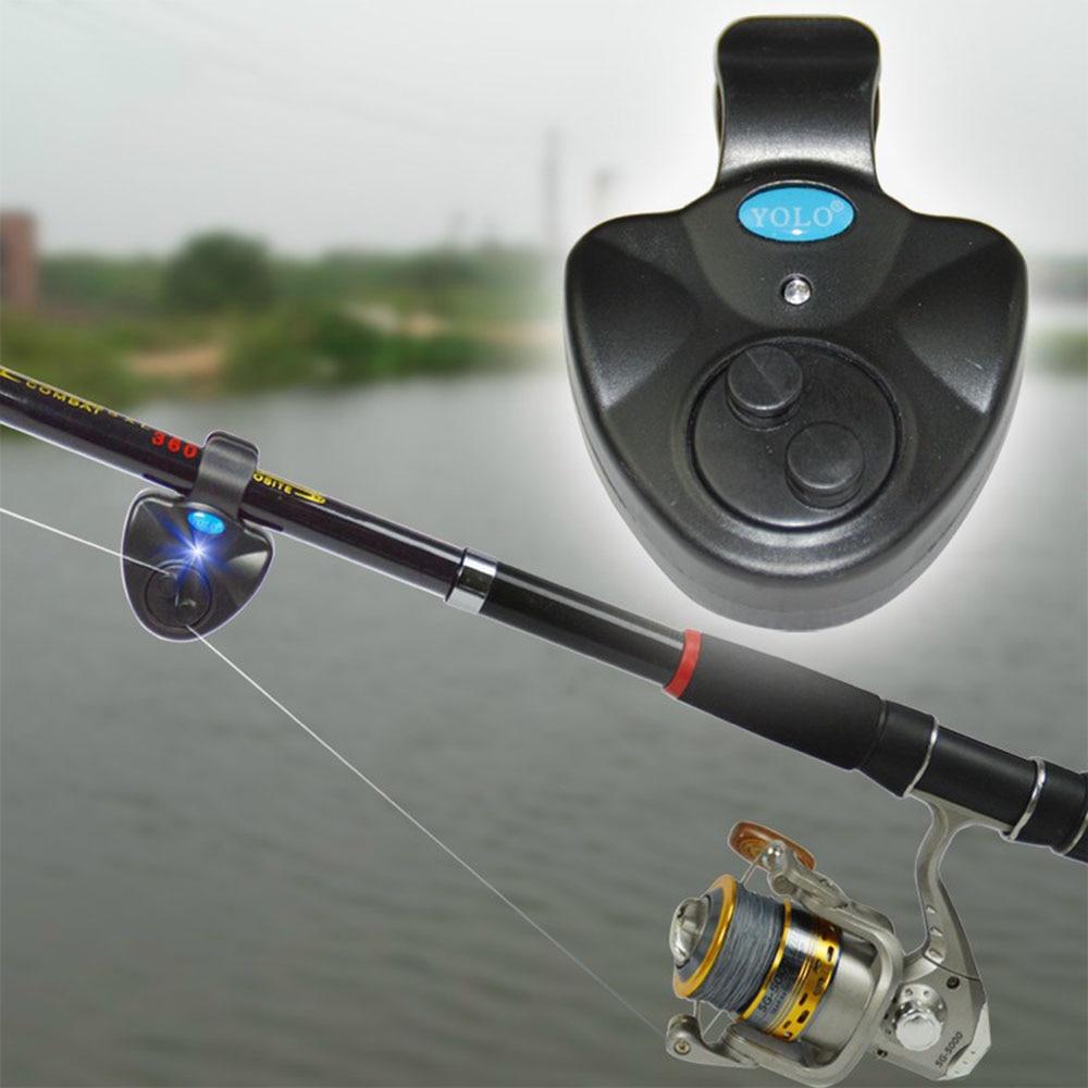 Black Mini LED Light Alert Bell Fishing Rod   LED Sensitive Mat Fishing Accessories  Electronic Fish Bite Sound Alarm