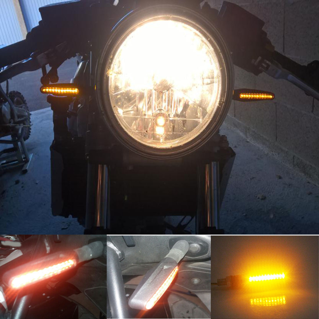 Motorcycle Turn Signal Light Lamp Flexible 12 LED Turn Signals Indicators Blinkers Flashers Lights For Honda GROM MSX125 1 Pairs