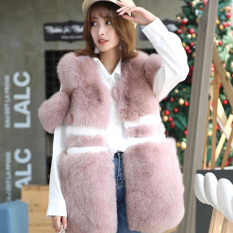 2018 nowych moda prawdziwe futra lisa płaszcz zimowy kobiety na co dzień szczupła bez rękawów kamizelka z futra lisa kurtka zimowa Manteau Femme Hiver ZL557