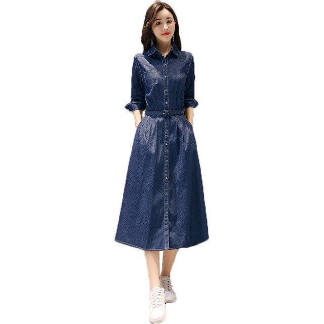 1e8d3e89412 Printemps automne Jeans robe femmes 2018 nouveau solide couleur a-ligne mi  longue Section simple