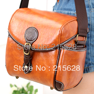 Top quality fashion PU Leather DSLR Camera bag shoulder cross body for canon 550D 600D 60D
