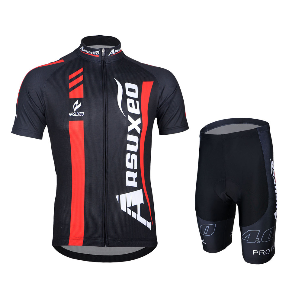 2016 ARSUXEO Mens Cycling Short Sleeve Jersey + Shorts Set MTB Bike Bicycle Clothing Downhill Shirts Outdoor Sport Wear Padded arsuxeo cycling short pants