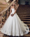 Dreagel 2017 New Arrival Sexy Strapless Wedding Dresses Appliques Tulle Vestidos Elegant Sashes Bow Bridal Dress Robe de Mariage