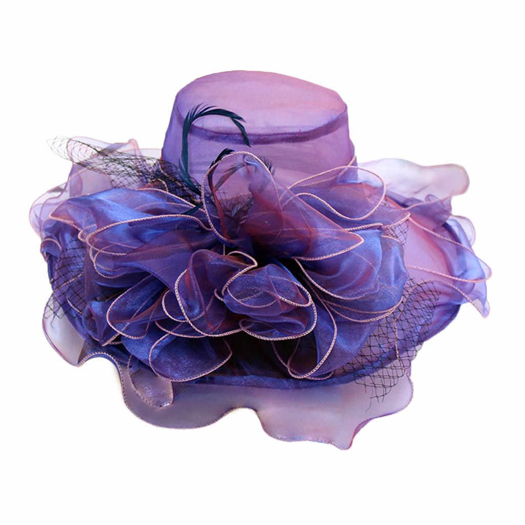 Women's Church Derby Dress Bridal Cap British Tea Party Wedding Hat Formal Kentucky Derby Hats Wide Brim Sunhat