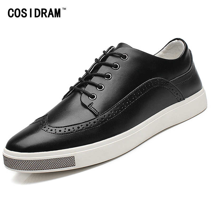 British Style Brogue Men Shoes Split Leather Rubber Sole Men Casual Shoes Lace-Up Spring Autumn Flats 2017 Male Footwear RMC-730