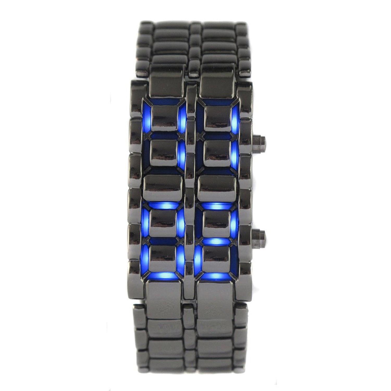 YCYC!5*New Practical Lava Style Iron Samurai Black Bracelet blue LED Watch with box