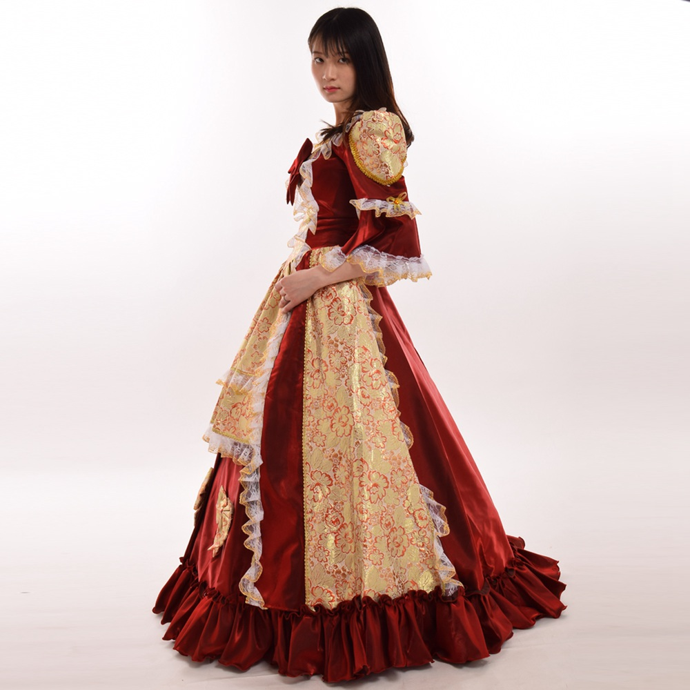Women Gorgeous Victorian Dress Red Reenactment Theater Ball Gowns ...