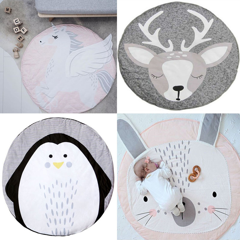 INS 95CM Baby play mat Cotton Kids Play Game Mats playmat Round baby blanket baby gym playmat Floor Carpet For Crawling baby play mat bear photo kids play game round carpet rugs mats cotton baby gifts floor carpet for kids baby bedroom decoration