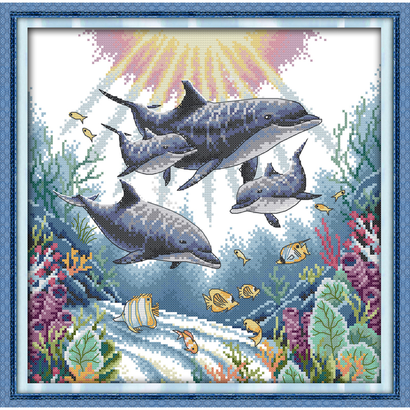 Joy Sunday Dolphin Chinese cross stitch kits Ecological cotton clear stamped printed 14CT 11CT DIY wedding decoration for home