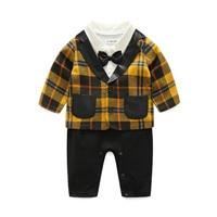 Children Clothing Set Gentleman Boys Newborn Baby Boy Clothes 3 Color Plaid Coat Kids Boy Rompers