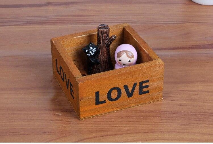 1 шт. ZAKKA мини квадратный деревянный горшок Винтаж ручной работы деревянной стружки мясистые деревянный ящик для хранения JL 0930