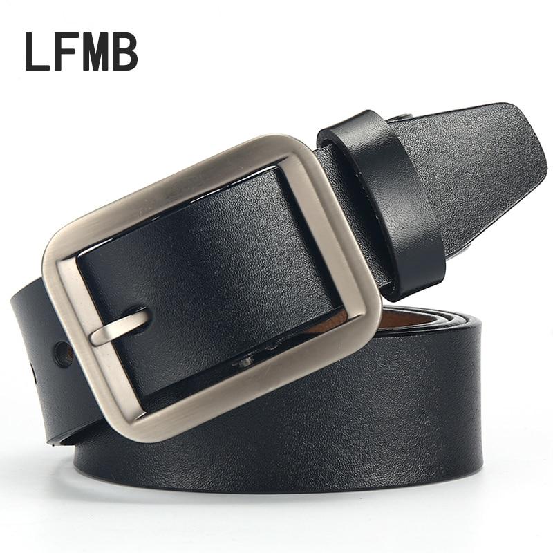 LFMB 2019 High Fashion Metal Buckle Jeans Belt Cowskin Leather Men Belts Casual High-Quality Waist Belt Ceinture Homme