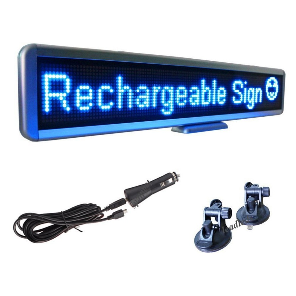 12V <font><b>Car</b></font> Bus <font><b>Led</b></font> Sign Programmable Advertising <font><b>Message</b></font> board , Included Dc12v Cigar Lighter and Vacuum Suckers for Window Display image